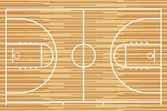 Basketbalhof met parket houten raad Vector vector illustratie