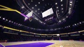 Basketbalhof met toeschouwers en schijnwerpers Stock Foto