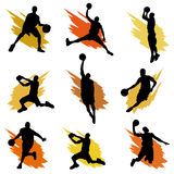 Basketball. Set of basketball player silhouette Royalty Free Stock Images