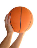 Basketball. In hands with white backround stock photo