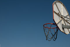 Basketball. Behind a basketball hoop on a blue sky Royalty Free Stock Photography