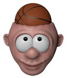 Basketball. Man with basketball in his head - 3d illustration Royalty Free Stock Photos