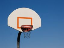 Basketball. Hoop with a clear blue sky background Royalty Free Stock Photos
