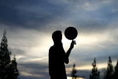 Basketball. Silhouette of a basketball player royalty free stock photo