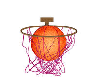Basketball. A basketball swishes through the hoop. illustration Stock Photo