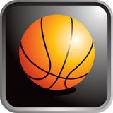Basketball. A basketball on a black round square. Additional format available Royalty Free Stock Photos