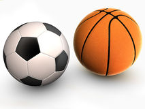 Basketball. And soccer ball white background 3d with shadow Stock Photos