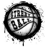 Basketball. Abstract vector illustration black and white basketball ball on grunge background. Inscription streetball. Design for tattoo or print t-shirt Stock Image