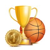 Basketball Achievement Award Vector. Sport Banner Background. Orange Ball, Winner Cup, Golden 1st Place Medal. Realistic Stock Image