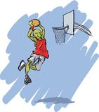 Basketball action. The famous cartoon player in action.Enjoy vector illustration