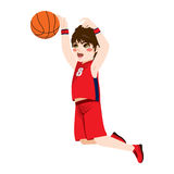 Basketball Action Boy. Red young teenager boy in a basketball jumping action Stock Image