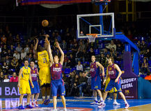 Basketball action. Sofoklis Schortsanitis (21) in action at the Euroleague basketball match between FC Barcelona and Maccabi Electra, final score 70-67, on Stock Image