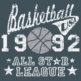 Basketball all star league artwork, typography poster, t-shirt Printing design, vector Badge Applique Label.  Stock Photos