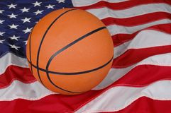 Basketball with American Flag Stock Image