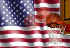 Basketball with American Flag Stock Photo