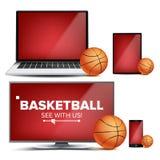 Basketball Application Vector. Field, Basketball Ball. Online Stream, Bookmaker, Sport Game App. Banner Design Element. Live Match. Monitor, Laptop Tablet Royalty Free Stock Photos
