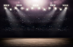 Basketball arena background. An imaginary stadium is modelled and rendered Royalty Free Stock Image