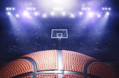 Basketball arena 3d. Illustration of basketball arena with ball Stock Photos