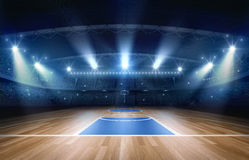 Basketball arena,3d rendering. The imaginary basketball arena is modeled and rendered royalty free illustration
