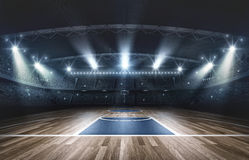 Basketball arena, 3d rendering. The imaginary basketball arena is modeled and rendered royalty free illustration