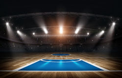 Basketball arena,3d rendering. The imaginary basketball arena is modeled and rendered Stock Photo