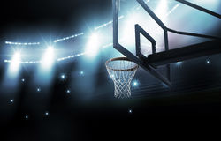 Basketball arena. Basketball hoop is modelled and rendered Stock Photos