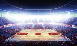 Basketball arena. An imaginary stadium is modelled and rendered royalty free stock image