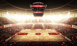Basketball arena. An imaginary stadium is modelled and rendered Royalty Free Stock Photos