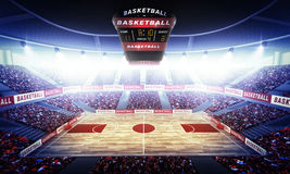 Basketball arena. The imaginary stadium is modelled and rendered Royalty Free Stock Photography