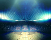 Basketball arena. The imaginary stadium is modelled and rendered Stock Photos
