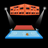 Basketball arena with scoreboard. In black background royalty free illustration