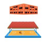 Basketball arena with scoreboard. And stadium seats stock illustration