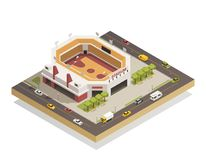 Basketball Arena Stadium Isometric Composition. Basketball arena sport center competitions stadium with outdoor area and adjacent streets isometric composition stock illustration