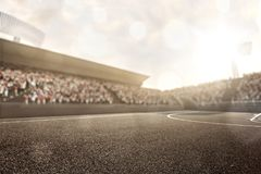 Streetball arena in the sun lights Royalty Free Stock Images