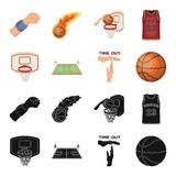 Basketball and attributes black,cartoon icons in set collection for design.Basketball player and equipment vector symbol. Stock  illustration Stock Photography