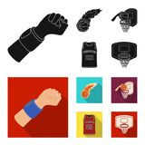 Basketball and attributes black, flat icons in set collection for design.Basketball player and equipment vector symbol. Stock  illustration Royalty Free Stock Photography