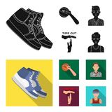 Basketball and attributes black, flat icons in set collection for design.Basketball player and equipment vector symbol. Stock illustration stock illustration