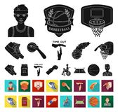 Basketball and attributes black,flat icons in set collection for design.Basketball player and equipment vector symbol. Stock illustration royalty free illustration