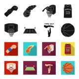 Basketball and attributes black,flet icons in set collection for design.Basketball player and equipment vector symbol. Stock  illustration Stock Images