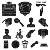 Basketball and attributes black icons in set collection for design.Basketball player and equipment vector symbol stock. Illustration Royalty Free Stock Photo