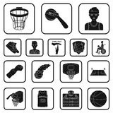 Basketball and attributes black icons in set collection for design.Basketball player and equipment vector symbol stock. Illustration Royalty Free Stock Photography