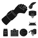 Basketball and attributes black icons in set collection for design.Basketball player and equipment vector symbol stock. Illustration Stock Photos