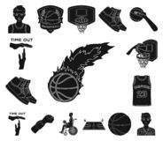 Basketball and attributes black icons in set collection for design.Basketball player and equipment vector symbol stock. Illustration vector illustration
