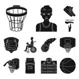 Basketball and attributes black icons in set collection for design.Basketball player and equipment vector symbol stock. Illustration Stock Image