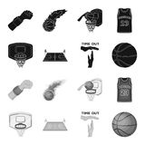 Basketball and attributes black,monochrome icons in set collection for design.Basketball player and equipment vector. Symbol stock  illustration Stock Photos