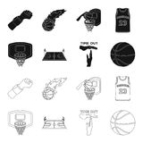 Basketball and attributes black,outline icons in set collection for design.Basketball player and equipment vector symbol. Stock  illustration Stock Images