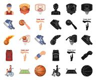 Basketball and attributes cartoon,black icons in set collection for design.Basketball player and equipment vector symbol royalty free illustration
