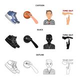 Basketball and attributes cartoon,black,outline icons in set collection for design.Basketball player and equipment. Vector symbol stock  illustration Stock Images