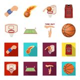 Basketball and attributes cartoon,flat icons in set collection for design.Basketball player and equipment vector symbol. Stock  illustration Stock Images