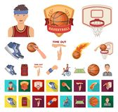 Basketball and attributes cartoon,flat icons in set collection for design.Basketball player and equipment vector symbol. Stock illustration royalty free illustration